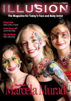 Illusion Magazine 9 $29.95 Illusions Volume 9 features 56 high-quality pages packed with original artwork, including: · An original front cover from the one and only Marcela Murad. ·Ten step-by-steps from talented artists across the world. Hitomi Fukai, founder of the Japanese Facepainting Association shares her Funky Tribal Eyes while master painter Mark Reid illustrates how simple a Stinging Scorpion can be. · The thought-provoking work of Linzi Foxcroft and her company Trauma FX as their special effects and casualty simulation help to make a real difference to the treatment of wounded in conflicts around the world. · Stunning headpieces from Syl Verberk  ·The story behind the Arty Brush Cakes – the new product from Silly Farm and Rebecca Tonkovich. ·Mark Greenawalt's first experiences of liquid latex and insider tips on how to use latex in body painting. · Exclusive interview with Israel's Einat Dan that gives details of her label-laden fashion shoots in Milan. In this issue's Get Technical Helen Eyre explains how to paint and create your own tribal designs while in The Art of Business Fionna Doney gives plenty of recession-busting ideas.