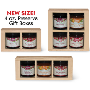Linn's Fruit Preserves in Pine Gift Boxes  -  4 oz. jars.