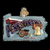 State Of Pennsylvania Landmarks Glass Ornament