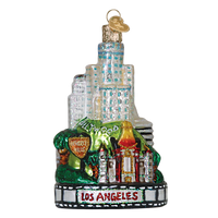 Los Angeles Landmarks Glass Ornament