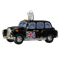 British Taxi Glass Ornament