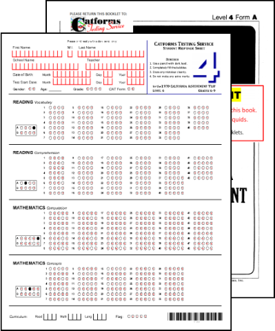 You receive a student test booklet and a separate student response sheet on which to mark answers. You also receive directions for administering the test.