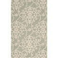 5x8 Floral Sea Foam Green Rug