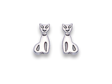 Silver Cat Stud Earrings 5130