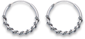 Silver Ornate Hoop Earrings 6209