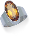 Silver Citrine Colour Heat Treated Quartz Ring 2209CTQ