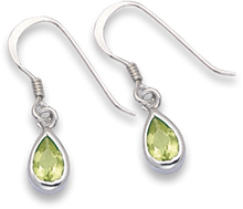 Silver Peridot Colour Cubic Zirconia Plain Drop Earrings 7109PDZ