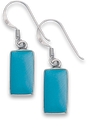 Silver Mother of Pearl & Reconstituted Turquoise Plain Drop Earrings 7916TQ