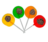 El Jalisciense Paleta is a delicious hard caramel lollipop that comes in four different flavors; pineapple, lemon, orange and cherry with a small salted prune in the center.