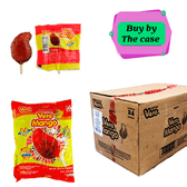 """Box with 24 pieces of one of the most popular Spicy Mexican Lollipops """"Paleta Mango"""". This is a hard candy corn shaped lollipop with a delicious mango flavor and a cover of chili powder."""