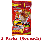Super Churros El Leoncito is a pack of mix snacks. The bag comes with tasty corn churros, peanuts, pieces of fruits candy, salt, chili and lemon. This snacks has 2 package and it has the perfect combination of spicy appetizers.