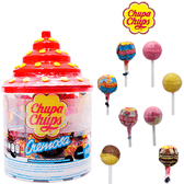 """Chupa Chups Cremoso Vitrolero is a package of lollipops. The container comes in the form of a transparent glass holder with a great variety of Chupa Chups lollipops. Some of the sweet and creamy lollipop flavors are strawberry, vanilla, chocolate or the neapolitan """"Chocolate and Vanilla"""", """"Strawberry and Vanilla"""" and others."""