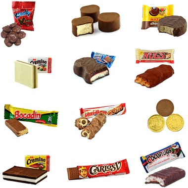 """Box with a delicious mix of Mexican Chocolate candies. The box comes with a great variety of chocolate candies such as """"Chocolate covered mazapan"""", """"Krankys"""", """"Chocolate marshmallow"""", """"Carlos V"""" and many more."""