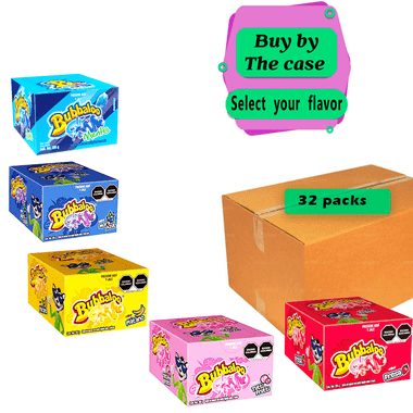 Adams Bubbaloo per case is a box full of chewy gums with a great variety of flavors that you can choose from. The gums have mint, strawberry, blueberry, banana and tutti fruti flavors. They have a soft kinda velvet texture in the outside and a chewy texture once it's in your mouth with a tasty caramel liquid on the center.