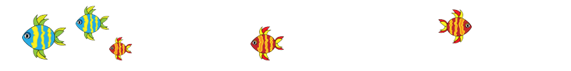 Green with yellow and orange with yellow fish design element