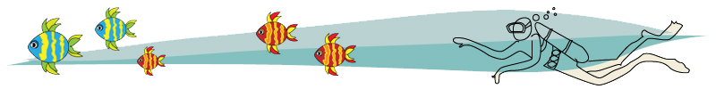 Blue with yellow, orange with yellow fish and diver design element