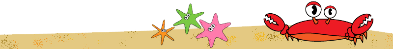 Sea Creatures crab and starfishes design element