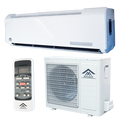 Amvent Ductless Mini Split Air Conditioning Systems are a powerful & flexible way to efficiently cool a room. Each system has two parts: an indoor unit & an outdoor unit. The indoor unit is mounted using a bracket - like a picture frame - on an exterior facing wall, then connected to the outdoor unit using a small hole drilled through the wall. Electricity is supplied via a 20 Amp Breaker (not supplied) to the Outdoor unit. The indoor unit draws its power from the outdoor unit. QUICK-INSTALL SYSTEM - All Amvent systems use the QUICK-INSTALL system, making installation easy. The QUICK-INSTALL system features pre-wired indoor & outdoor units, Quick-Connection terminals for connecting the two units & pre-flared/pre-flanged insulated line sets (connecting pipes). There is no welding or soldering needed and no need to charge the system, since the system comes pre-charged with R410 refrigerant. Complete installation kit & hardware is included, plus a manual & installation instructions. Using the QUICK-INSTALL system, setup time is cut in half.