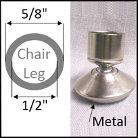 "Swivel chair glide for round leg with O.D. 5/8"" and I.D. 1/2"""