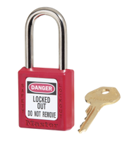 Master Lock #410RED Safety Zenex Plastic Padlock. Pictured with #S140 Padlock Label (sold separately)