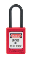 Master Lock #S32 Plastic Safety Padlock with Nylon Shackle. Not Key Retaining