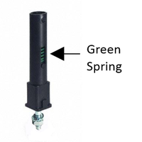 """Bathroom stall hinge """"candle cam"""" with green spring"""