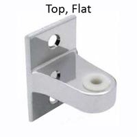 Top Bathroom Stall Hinge Bracket, Flat. Chrome plated Zamac or Satin Stainless Steel. Knickerbocker Laminate. #90H122 & 90H124