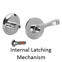 ADA compliant latch set for bathroom stall doors. New design screws together.
