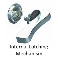 ADA compliant concealed latch set for bathroom stalls with latching mechanism installed in door