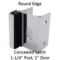 Inswing or outswing strike & keeper for ROUND edged bathroom stall