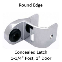 """Inswing or outswing strike & keeper for ROUND edged bathroom stall. """"Half-high"""""""