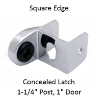 Inswing or outswing strike & keeper for SQUARE edged bathroom stall post and door