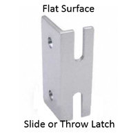 Inswing keeper for bathroom stalls with throw or slide latch
