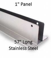 "Two Ear Continuous Wall Bracket for 1"" Bathroom Stall Panel Repair. Stainless Steel. 57"" Long"