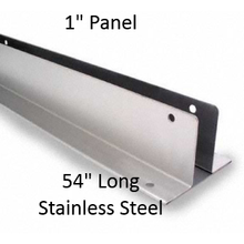 "Two Ear Continuous Wall Bracket for Bathroom Stall Repair. 1"" Panel, Stainless Steel, 54"" Long"