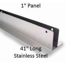 "Continuous Two Ear Wall Bracket for Bathroom Stall. 1"" Panel, Stainless Steel, 41"" Long"