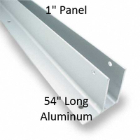 "One Ear Continuous Wall Bracket for Bathroom Stall Repair. 1"" Panel. Aluminum, 54"" Long"