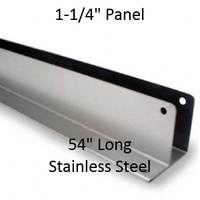 "One Ear Continuous Wall Bracket for Bathroom Stall Repair. 1-1/4"" Panel. Stainless Steel, 54"" Long"