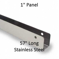 """U-Shaped Continuous Wall Bracket for Bathroom Stall Repair. 1"""" Panel. Stainless Steel, 57"""" Long"""