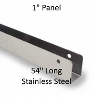 """U-Shaped Continuous Wall Bracket for Bathroom Stall Repair. 1"""" Panel. Stainless Steel, 54"""" Long"""