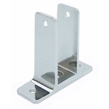 """Chrome plated two ear bracket for 1-1/4"""" bathroom stall panel. Extra high"""