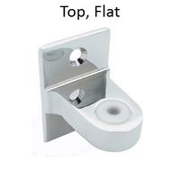Bathroom stall top hinge bracket. Flat for surface mount.