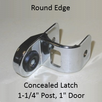 "Inswing or outswing strike & keeper for ROUND edged bathroom stall. ""Half-high"""