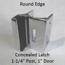 """Inswing or outswing strike & keeper for concealed latch. Round Edged. 1-1/4"""" pilaster, 1"""" door. Chrome plated"""