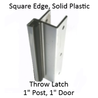 Outswing strike & keeper for solid plastic (HDPE) bathroom stalls