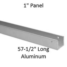 "Continuous U-Shaped Wall Bracket for Bathroom Stall Repair. 1"" Panel. Aluminum, 57-1/2"" Long"