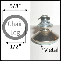 "Swivel chair glide for round leg with 5/8"" O.D. and 1/2"" I.D."