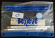 "Histio School Kit features the word ""Believe"" on a clear pencil case with blue trim and contains two pencils, a pencil sharpener, a six-inch ruler, and an eraser."