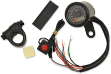 """Drag Specialties - 1-7/8"""" Mini Programmable Electronic Speedometer With Indicator Lights - Gloss Black"""