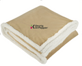 Field & Co. Cambridge Oversized Sherpa Blanket, Tan with Keurig logo